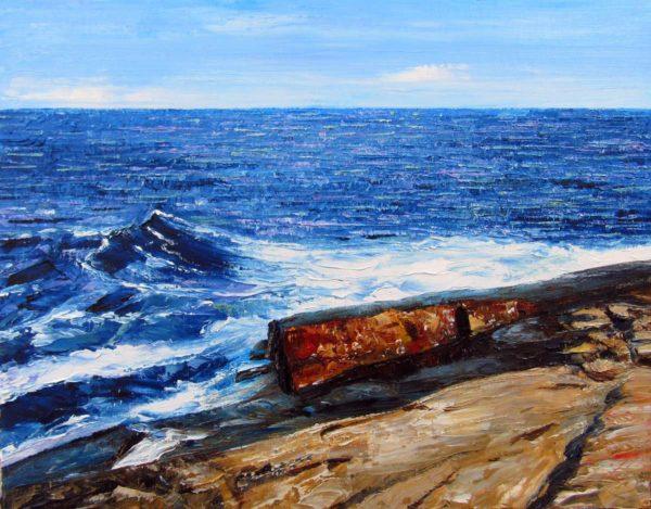 Newton Point Ledge Plein Air Painting by Rhode Island Artist Charles C. Clear III
