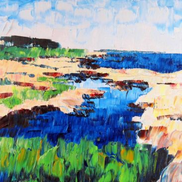 Newton Point Tidal Pool Plein Air Painting Plein Air Painting by Rhode Island Artist Charles C. Clear III