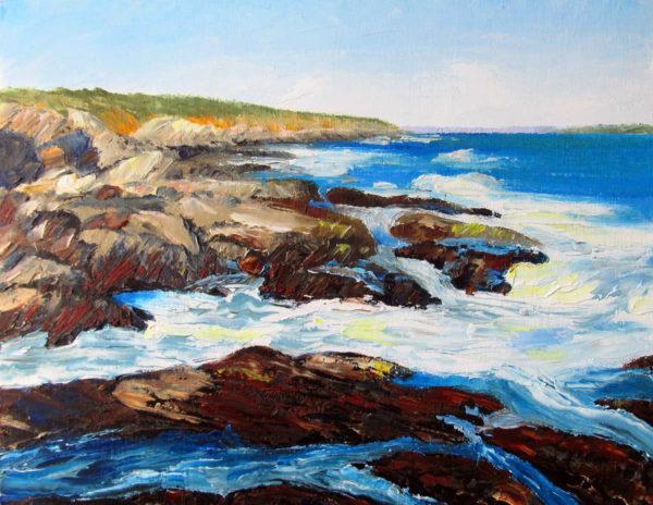 Rocky Coast Plein Air Painting by Rhode Island Artist Charles C. Clear III
