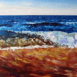 Breaking Wave Plein Air Painting by Rhode Island Artist Charles C. Clear III