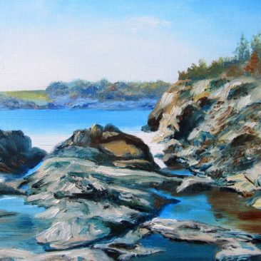 Wetherill Rocks Plein Air Painting by Rhode Island Artist Charles C. Clear III