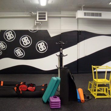 Bileau Built Fitness Gym Flag Mural by Charles C. Clear III and Bonnie Lee Turner