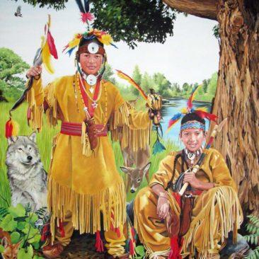 Narragansett Indian Boys Portrait by Rhode Island Artist Charles C. Clear III