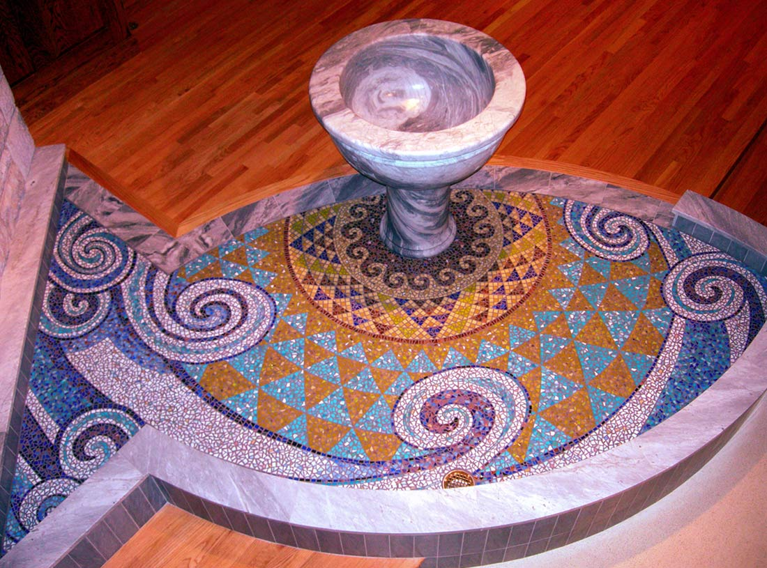 Living Water Mosaic on Altar of Church